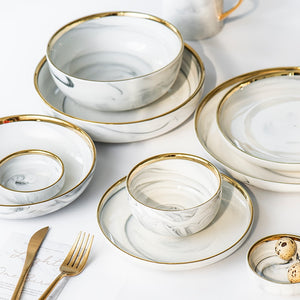 Gold-Touch Marble Dinner Tableware Collection