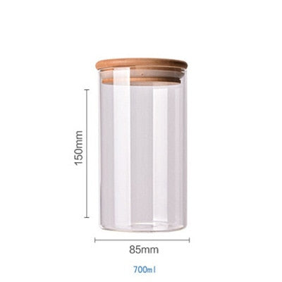 Clear Bamboo Lid Storage Jar