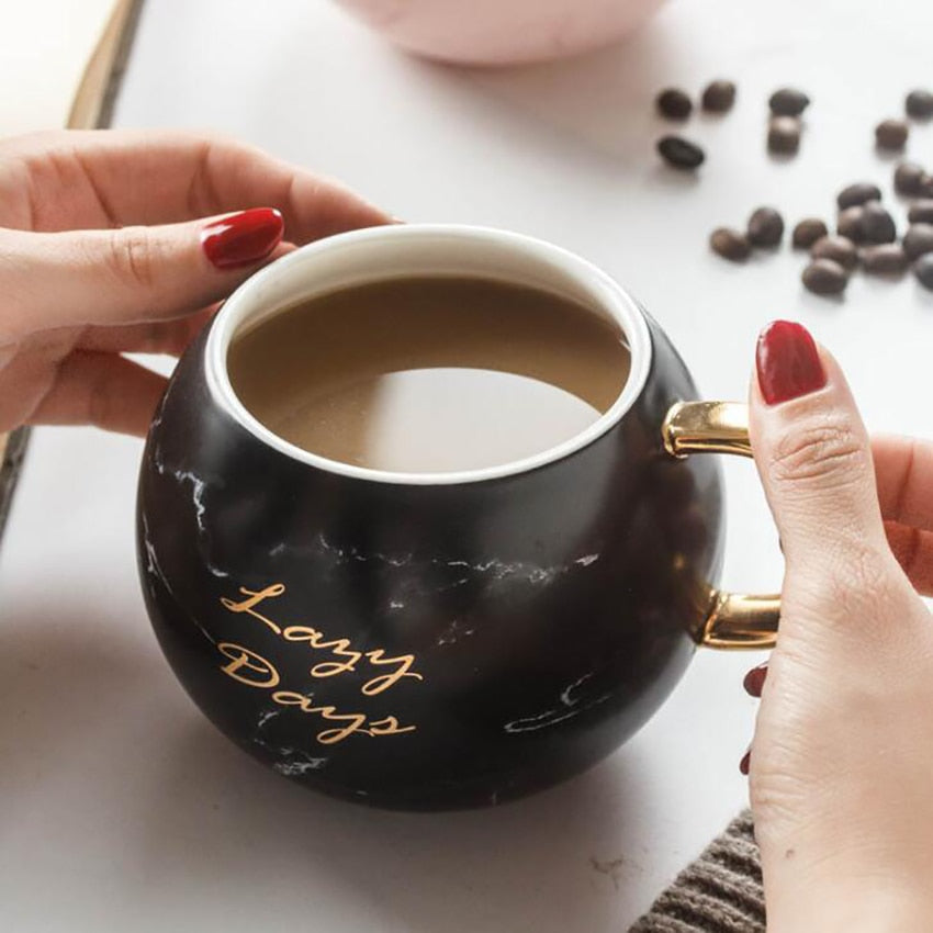 Gold-Touch Marble Coffee Mug