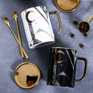Geometric Gold-Touch Coffee Mug Set