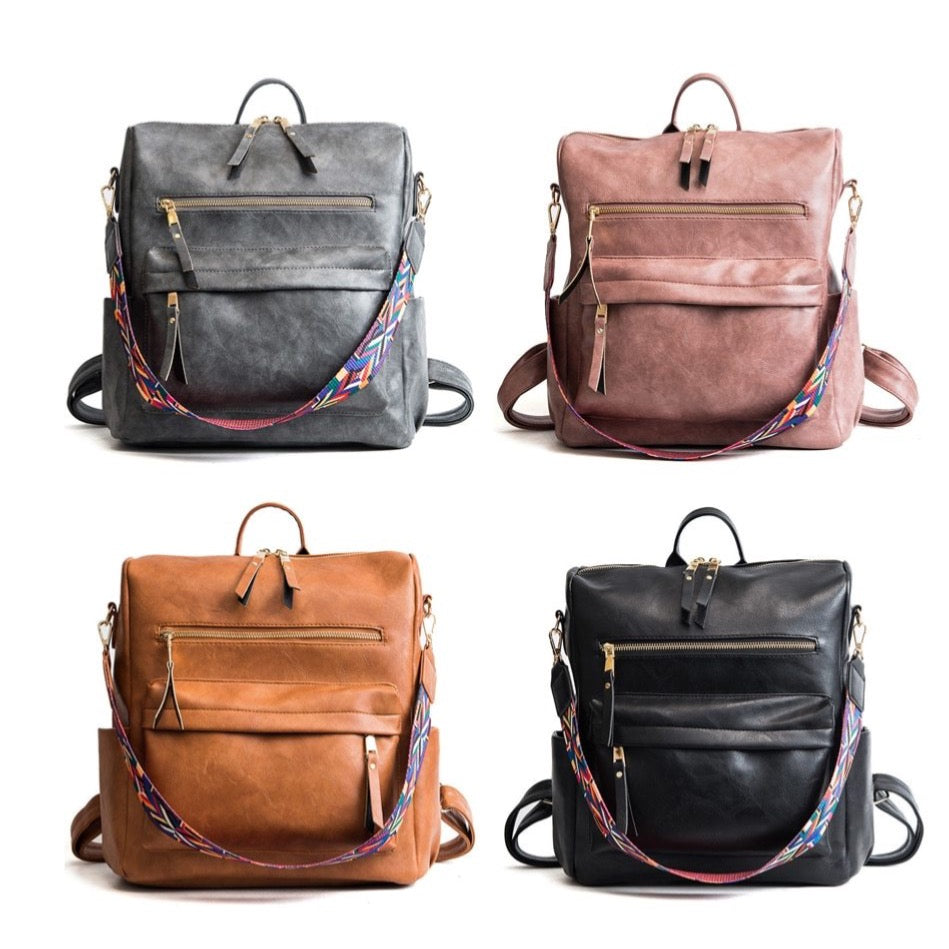 Bohemian Leather Texture Back Pack Collection