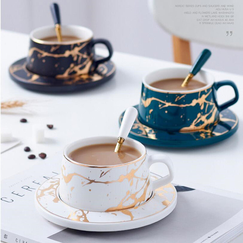 Gold-Touch Marble Coffee Set Collection