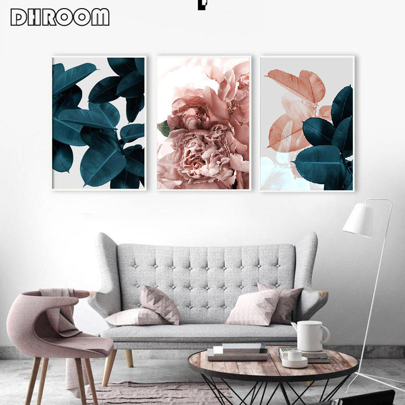 Primary Gradient Leafy and Floral Canvas Wall Art
