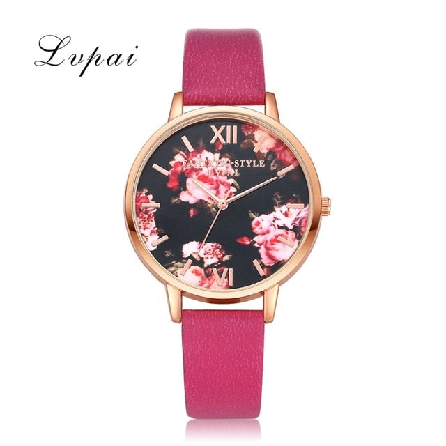 Rose Gold Floral Leather Wrist Watch