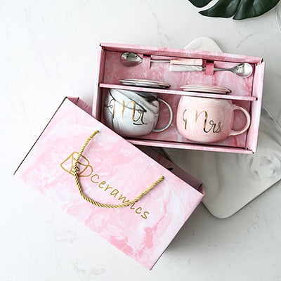 Gold-Touch Marble Coffee Mug Gift Set Collection