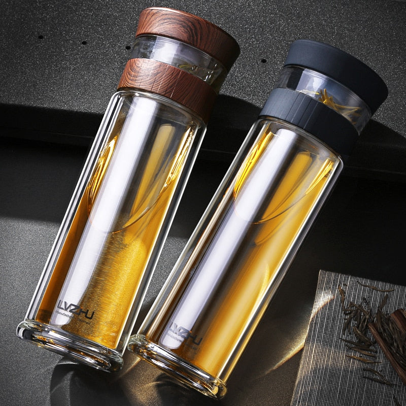Double Wall Wood-Touch Tea Brewing Borosilica Bottle
