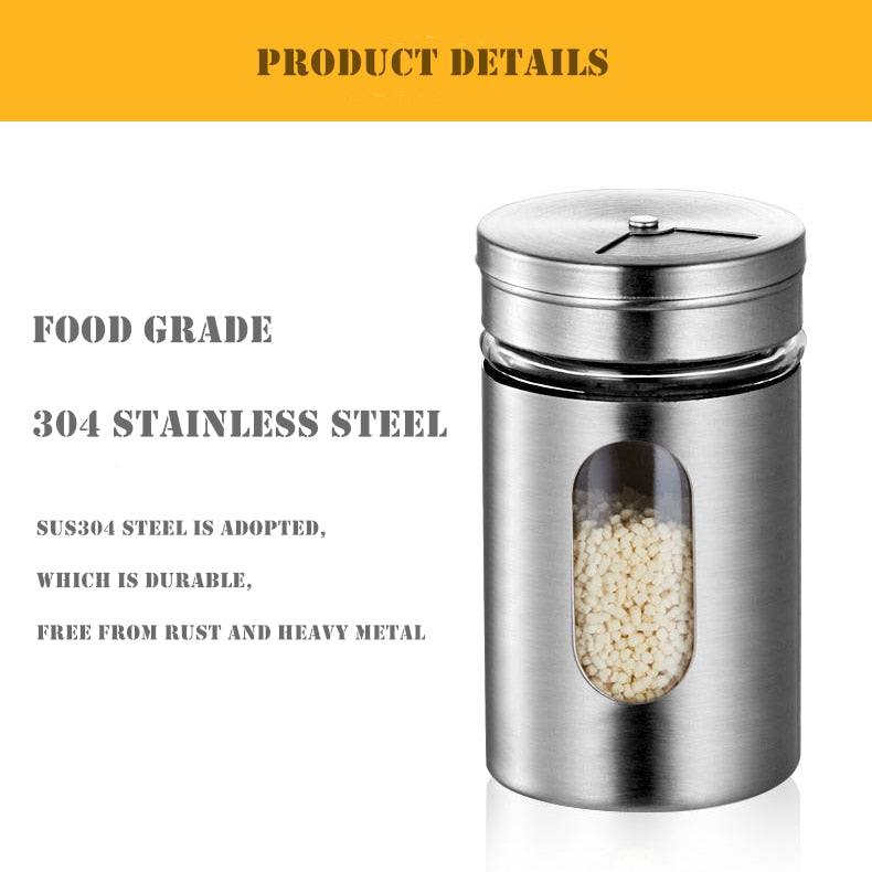 Stainless Steel Seasoning Jars with Clear Window