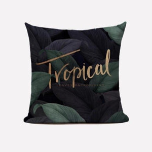 Leafy Gold Design Cushion Cover