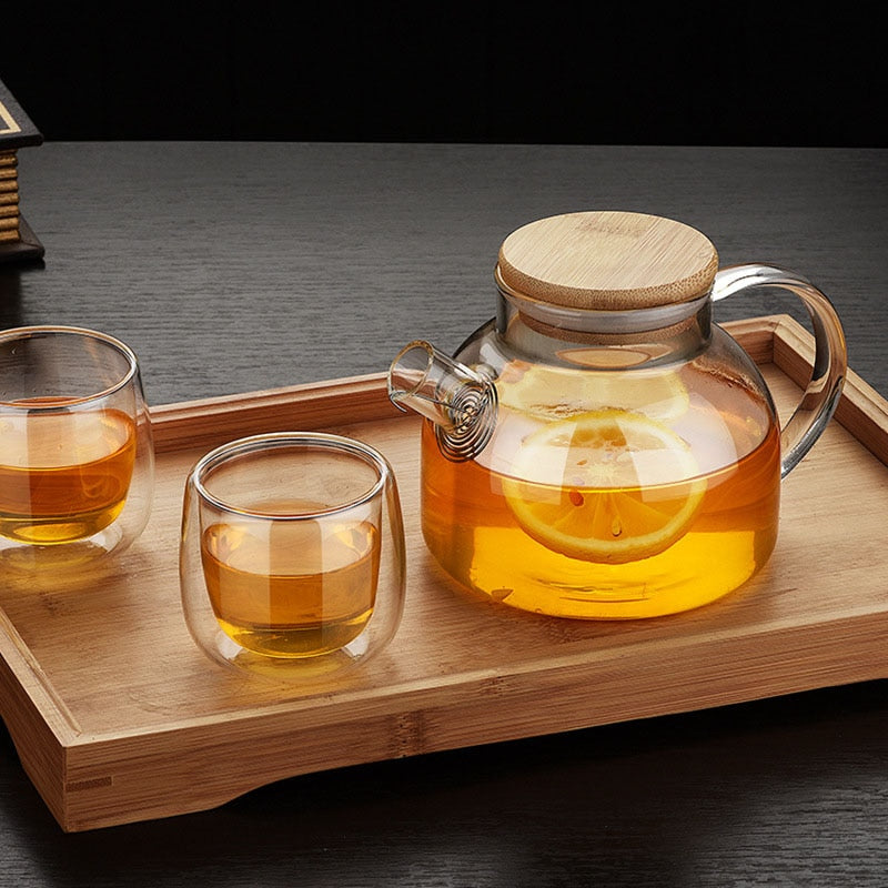 Clear Wood Tea Pot and Cup Set