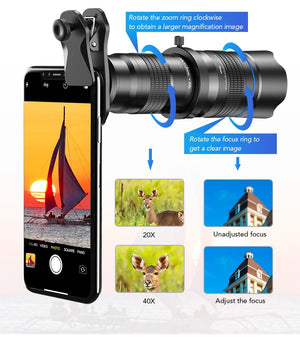 High Definition 20-40x Zoom Lens with Mini Tripod for iPhone
