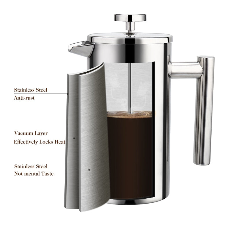 Large Capacity Stainless Steel French Press