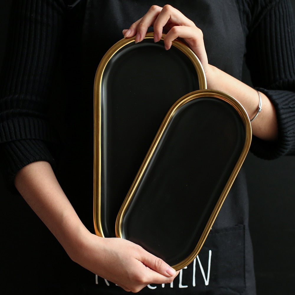 Gold-Touch Ceramic Oval Plates