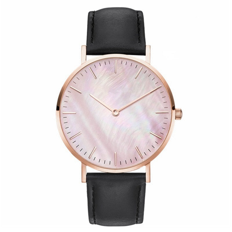 Textured Leather-Strap Wrist Watch Collection