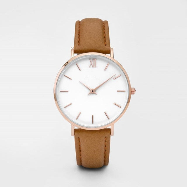 Timeless Minimalist Leather Strap Watch Collection