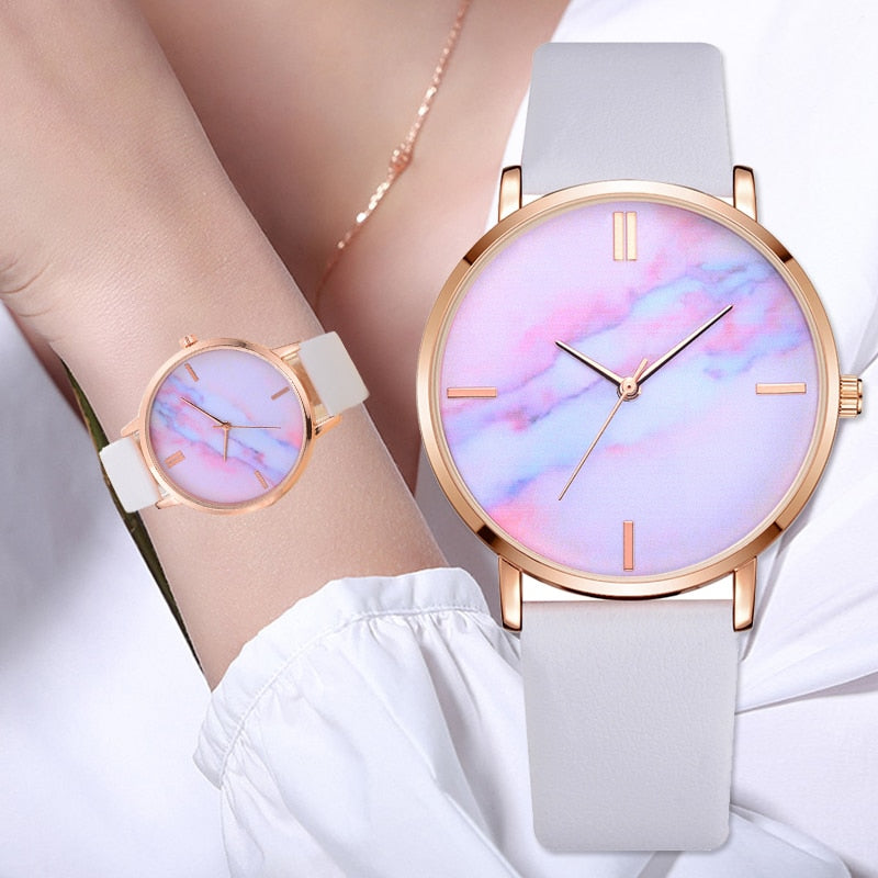 Rainbow Gradient Marble Wristwatch