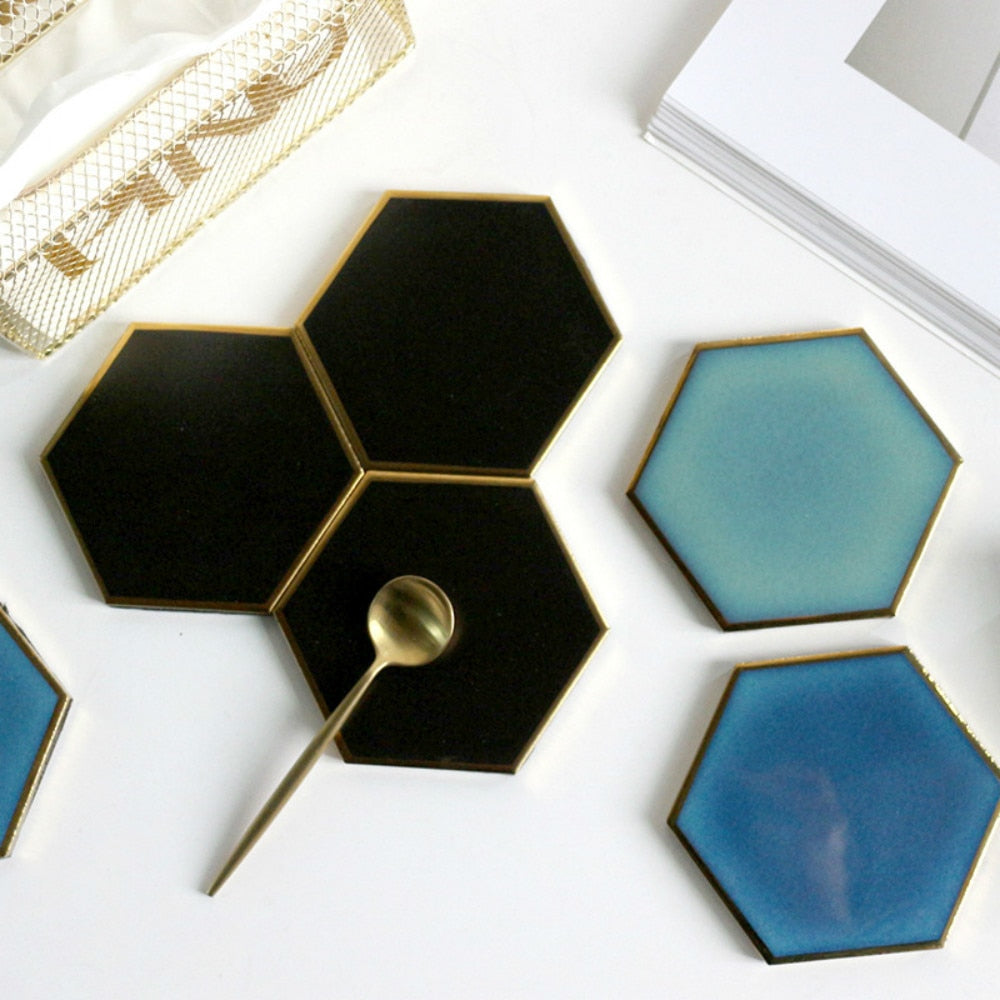 Gold-Touch Hexagonal Coaster