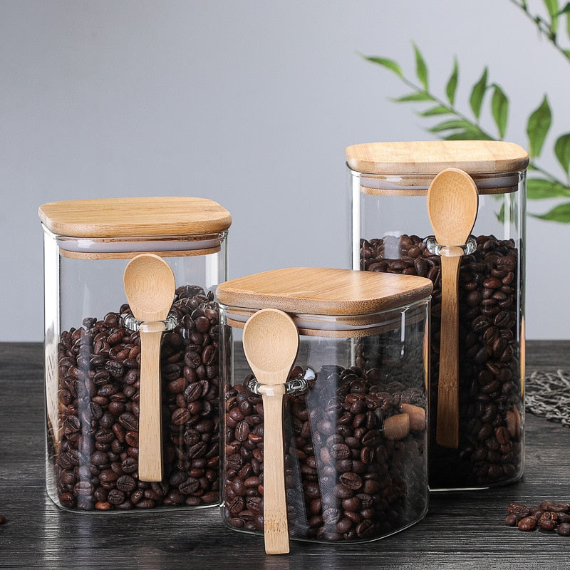 Wooden Lid Clear Sealed Storage Jars with Spoon