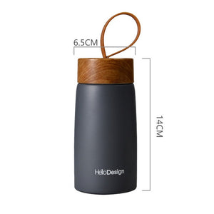 Wooden Lid Mini Insulated Coffee Mug