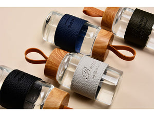 Mini Wood and Leather Water Bottle