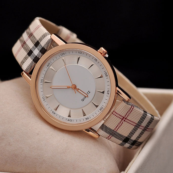 Plaid Design Rose Gold Wrist Watch Collection