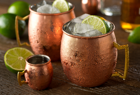 Moscow Mule cocktail in copper mug.