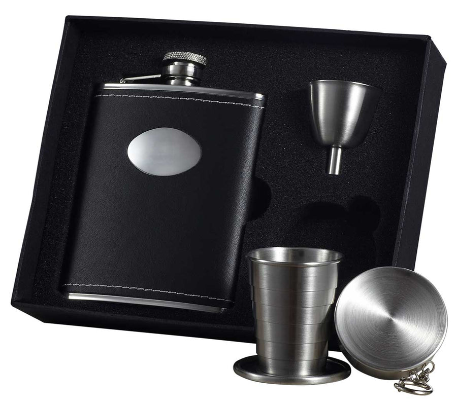 Engravable Luxury Black Leather Flask Gift Set