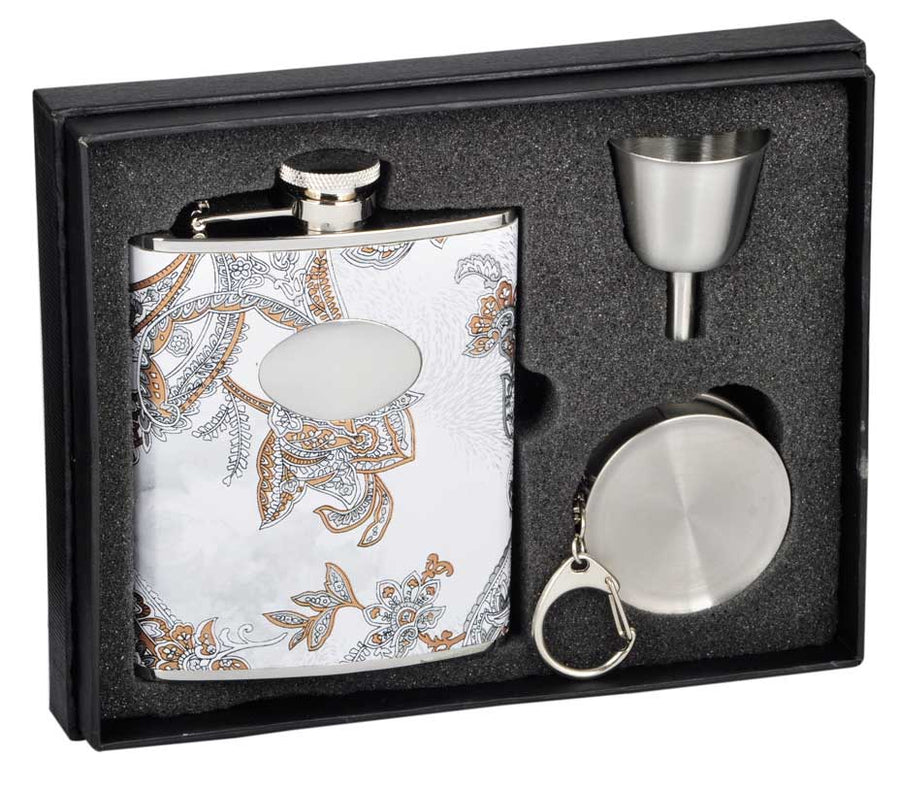 Engravable Luxury Floral White Leather Flask Gift Set
