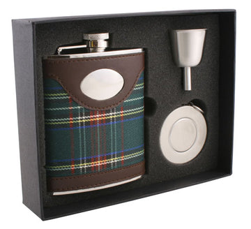 Engravable Luxury Plaid Cloth with Brown Leather Flask Gift Set