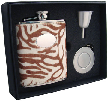 Engravable Luxury White Tiger Pattern Leather Flask Gift Set