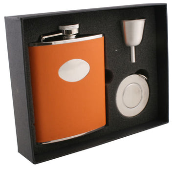 Engravable Luxury Burnt Orange Leather Flask Gift Set