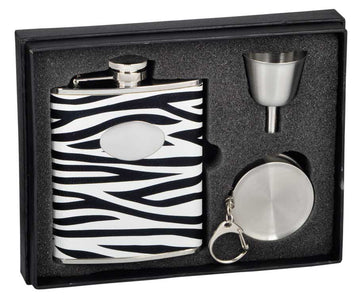 Engravable Luxury Zebra Pattern Leather Flask Gift Set