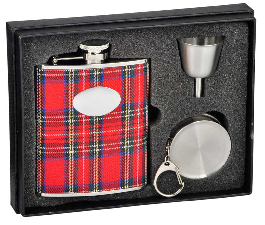 Engravable Luxury Red Plaid Cloth Flask Gift Set