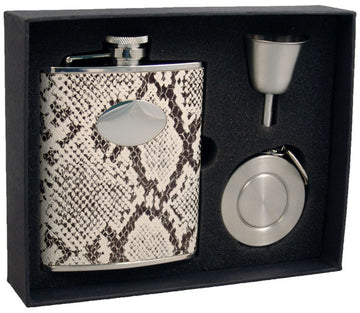 Engravable Luxury Snakeskin Pattern Leather Flask Gift Set