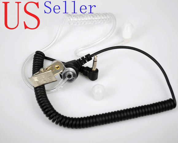 Listen-Only Acoustic Tube Earpiece Hand Handheld Mic Speaker 3.5 mm Plug Jack