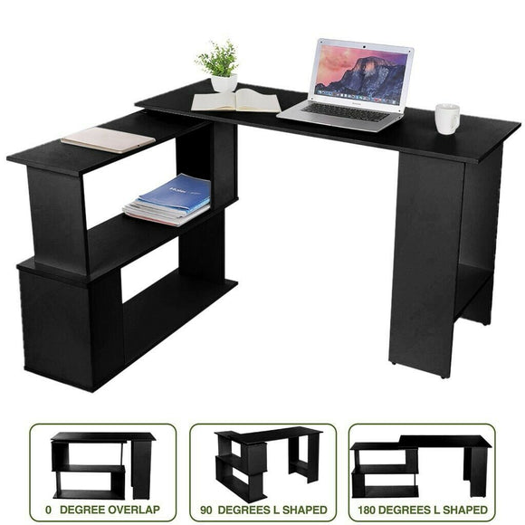 L-shaped Wooden Black Computer Desk Home Office Laptop PC Table Workstation Table