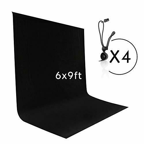 Emart 6 x 9 ft Photography Backdrop Background, Black Muslin Background Screen f