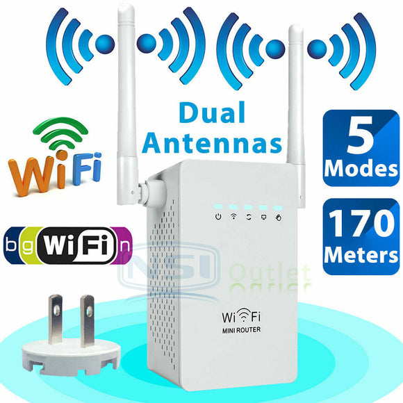 300Mbps Wireless WiFi Repeater Range Extender Signal Booster Network Router