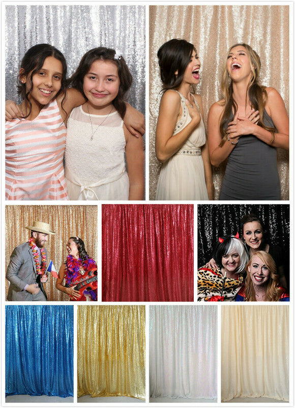 4Ftx7Ft/6Ft Sparkly Sequin Wedding Party Backdrop Fabric Shimmer Curtain Party