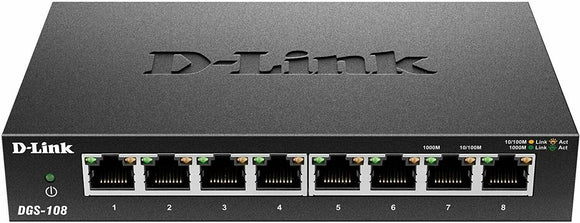D-Link 8 Port Gigabit Unmanaged Metal Desktop Ethernet Switch DGS-108