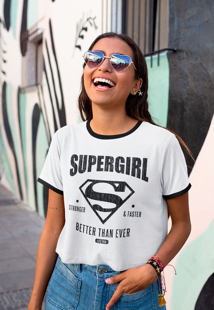 BLUSA RINGER SUPERGIRL STRONGER AND FASTER