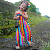 Fashion Summer Toddler Baby Kids Girls Rainbow Print Backless Romper Jumpsuits Clothes Sunsuit  Kids Clothes Outfits Set