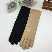 Load image into Gallery viewer, Women's Sunscreen Embroidered Gloves Female Medium long Thin Elastic Etiquette Gloves Driving Gloves