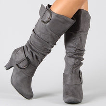 Load image into Gallery viewer, Women Winter Knee High Boot Solid Flock High Heel Boots