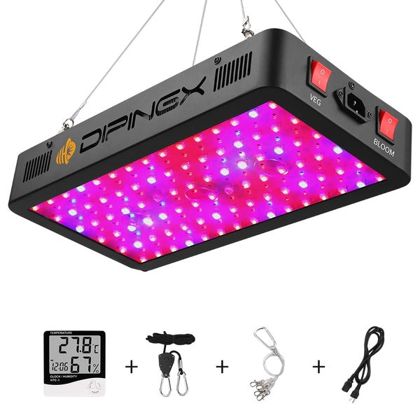 DIPINGX 600W LED Plant Grow Light,with Thermometer Humidity Monitor,with Adjustable Rope,Full Spectrum Double Switch Plant Light for Indoor Plants Veg and Flower- 600W(10W LEDs 60Pcs)