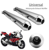 Stainless Steel Black Universal Muffler Exhaust Motorbike Motorcycle Exhaust Pipe Motorcycle Vintage Modified Exhaust Pipe Muffler Pipe