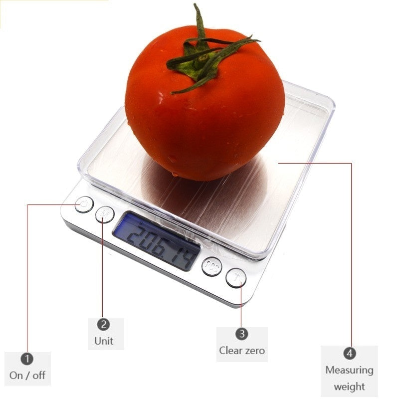 Digital Kitchen Scale Mini Pocket Jewelry Scale LCD Display Cooking Food Scale with 6 Units, Auto Off, Tare, PCS Function, Stainless Steel