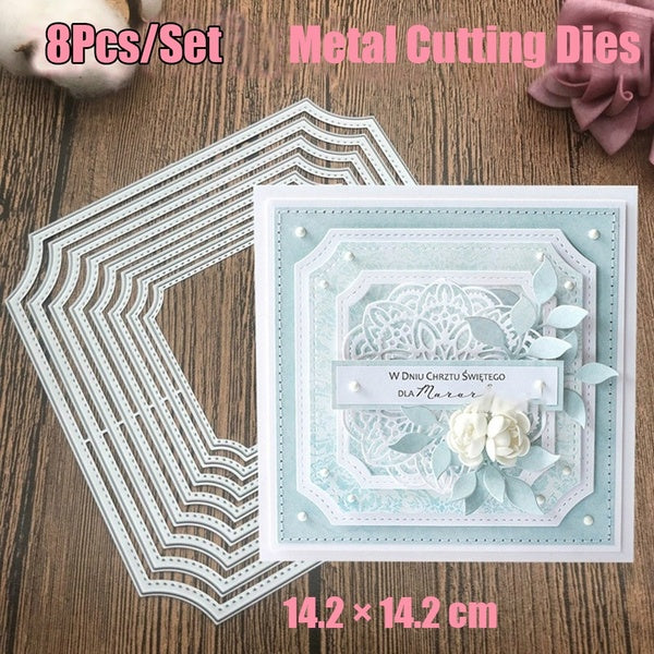 8Pcs/Set Square with Arc Border Metal Cutting Dies Party Table Setting Place Card Name Holder DIY Album Scrapbook Paper Craft Punch Cutter Art