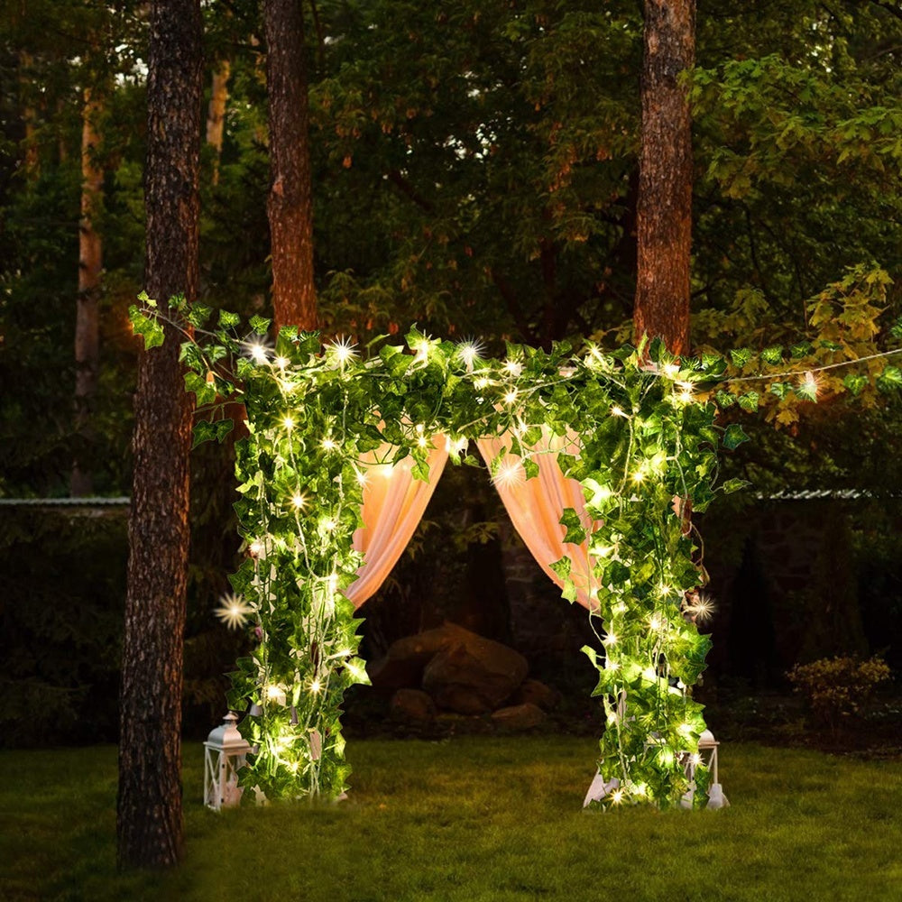 2M/3M/5M/10M Battery Powered Green Leaves Vine String Lights for Christmas Wedding Party Decor