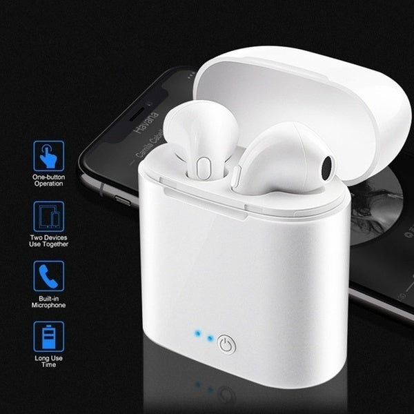 New Mini Earbuds Earphone Wireless Bluetooth Headsets Headphones with Charging Box (Choice:single or Double)