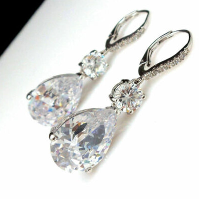 Vintage Jewelry 925 Sterling Silver Earrings White Diamond Sapphire Earring Drop Wedding Anniversary Earring